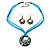 Light Blue Open-Cut Disk Enamel Organza Cord Necklace & Drop Earrings Set (Bronze Tone) - view 9