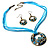Light Blue Open-Cut Disk Enamel Organza Cord Necklace & Drop Earrings Set (Bronze Tone) - view 10