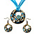 Light Blue Open-Cut Disk Enamel Organza Cord Necklace & Drop Earrings Set (Bronze Tone) - view 11