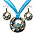 Light Blue Open-Cut Disk Enamel Organza Cord Necklace & Drop Earrings Set (Bronze Tone) - view 1