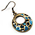 Light Blue Open-Cut Disk Enamel Organza Cord Necklace & Drop Earrings Set (Bronze Tone) - view 7