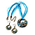 Light Blue Open-Cut Disk Enamel Organza Cord Necklace & Drop Earrings Set (Bronze Tone) - view 4