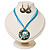 Light Blue Open-Cut Disk Enamel Organza Cord Necklace & Drop Earrings Set (Bronze Tone) - view 2
