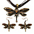 Chocolate Brown Enamel Dragonfly Organza Cord Necklace &amp; Drop Earrings Set (Bronze Tone)