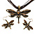 Chocolate Brown Enamel Dragonfly Organza Cord Necklace &amp; Drop Earrings Set (Bronze Tone) - view 9