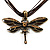 Chocolate Brown Enamel Dragonfly Organza Cord Necklace &amp; Drop Earrings Set (Bronze Tone) - view 5