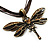 Chocolate Brown Enamel Dragonfly Organza Cord Necklace &amp; Drop Earrings Set (Bronze Tone) - view 12
