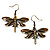 Chocolate Brown Enamel Dragonfly Organza Cord Necklace &amp; Drop Earrings Set (Bronze Tone) - view 4
