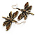 Chocolate Brown Enamel Dragonfly Organza Cord Necklace &amp; Drop Earrings Set (Bronze Tone) - view 8
