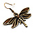 Chocolate Brown Enamel Dragonfly Organza Cord Necklace &amp; Drop Earrings Set (Bronze Tone) - view 13