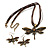 Chocolate Brown Enamel Dragonfly Organza Cord Necklace &amp; Drop Earrings Set (Bronze Tone) - view 6