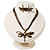 Chocolate Brown Enamel Dragonfly Organza Cord Necklace &amp; Drop Earrings Set (Bronze Tone) - view 3