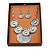 Antique Silver Textured Disc Necklace & Drop Earrings Set - view 2