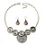 Antique Silver Textured Disc Necklace & Drop Earrings Set - view 9
