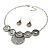 Antique Silver Textured Disc Necklace & Drop Earrings Set - view 10