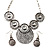 Antique Silver Textured Disc Necklace & Drop Earrings Set - view 1