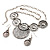 Antique Silver Textured Disc Necklace & Drop Earrings Set - view 11
