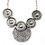 Antique Silver Textured Disc Necklace & Drop Earrings Set - view 6