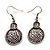 Antique Silver Textured Disc Necklace & Drop Earrings Set - view 12