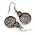 Antique Silver Textured Disc Necklace & Drop Earrings Set - view 5