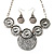 Antique Silver Textured Disc Necklace & Drop Earrings Set - view 8