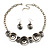 Ethnic Disc Necklace & Drop Earrings Set (Antique Silver) - view 9