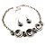 Ethnic Disc Necklace & Drop Earrings Set (Antique Silver) - view 10