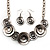 Ethnic Disc Necklace & Drop Earrings Set (Antique Silver)