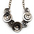 Ethnic Disc Necklace & Drop Earrings Set (Antique Silver) - view 4
