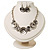 Ethnic Disc Necklace & Drop Earrings Set (Antique Silver) - view 3