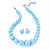 Light Blue Acrylic Bead Choker Necklace And Stud Earring Set (Silver Tone)
