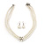 3-Strand Simulated Glass Pearl Choker Necklace & Drop Earrings Set In Silver Plated Metal - 36cm Length - view 2