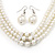3-Strand Simulated Glass Pearl Choker Necklace & Drop Earrings Set In Silver Plated Metal - 36cm Length - view 3