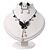Romantic Faux Pearl 'Butterfly' Necklace & Drop Earrings Set In Black Metal