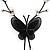 Romantic Faux Pearl 'Butterfly' Necklace & Drop Earrings Set In Black Metal - view 5