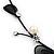 Romantic Faux Pearl 'Butterfly' Necklace & Drop Earrings Set In Black Metal - view 10