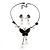 Romantic Faux Pearl 'Butterfly' Necklace & Drop Earrings Set In Black Metal - view 7