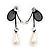 Romantic Faux Pearl 'Butterfly' Necklace & Drop Earrings Set In Black Metal - view 6