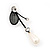 Romantic Faux Pearl 'Butterfly' Necklace & Drop Earrings Set In Black Metal - view 14