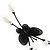 Romantic Faux Pearl 'Butterfly' Necklace & Drop Earrings Set In Black Metal - view 15