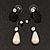Romantic Faux Pearl 'Butterfly' Necklace & Drop Earrings Set In Black Metal - view 17