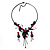 Charming Y-Shape Pink Rose Necklace & Drop Earring Set In Black Metal - view 3