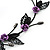 Delicate Y-Shape Purple Rose Necklace & Drop Earring Set In Black Metal - view 6