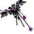 Delicate Y-Shape Purple Rose Necklace & Drop Earring Set In Black Metal - view 4