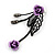 Delicate Y-Shape Purple Rose Necklace & Drop Earring Set In Black Metal - view 8