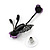 Delicate Y-Shape Purple Rose Necklace & Drop Earring Set In Black Metal - view 9