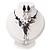 Black Mesh Floral Faux Pearl Necklace & Drop Earrings Set