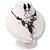Black Mesh Floral Faux Pearl Necklace & Drop Earrings Set - view 12