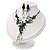 Black Mesh Floral Faux Pearl Necklace & Drop Earrings Set - view 11