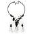 Black Mesh Floral Faux Pearl Necklace & Drop Earrings Set - view 13
